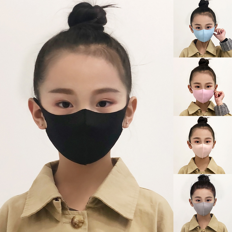 Kids Cotton Mouth Mask Anti Haze Dust Face Mouth Mask Washable Reusable Child Dustproof Mouth-muffle Black Breathable Mouth Mask