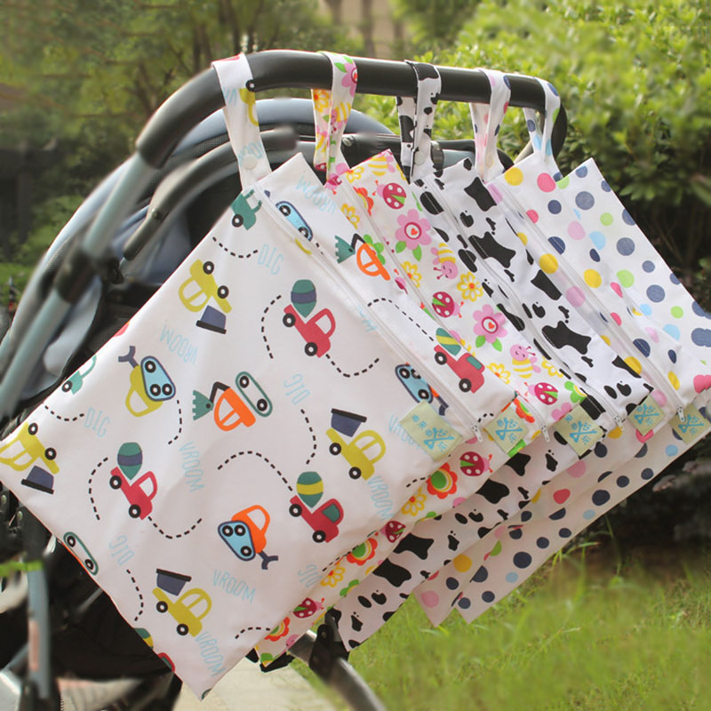 New Waterproof Diaper Bag Reusable Wet Bag Printed Pocket Nappy Bags Travel Wet Dry Bags Size 30x40cm Storage Bags