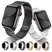 Ze stali nierdzewnej do zegarka Apple Watch zespół 42mm 38mm serii 5 4 3 2 1 wymiana dla pasek iWatch pas metalowy pasek do zegarków 44mm 40mm tanie tanio XIYUZHIYI 22 cm Od zegarków STAINLESS STEEL Nowy bez tagów strap for apple watch band 44mm 42mm 40mm 38mm metal Buckle for apple watch 3 2 1