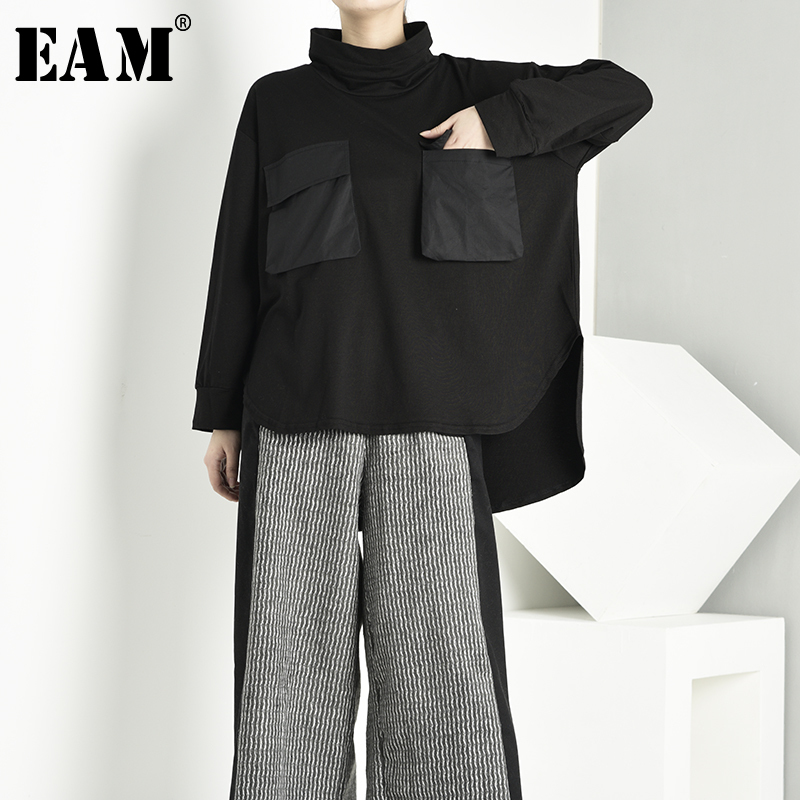 [EAM] Loose Fit Pocket Asymmetrical Sweatshirt New High Collar Long Sleeve Women Big Size Fashion Spring Autumn 2020 1D6450