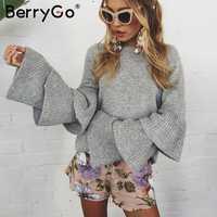 Suéter de punto de invierno de manga de llamarada suelto BerryGo para mujer elegante otoño Jersey mujer invierno 2017 suave Jersey de punto