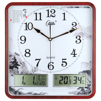 Chinese Square Wall Clock Calendar Living Room Creative Simple Silent Clocks Wall Digital Calendar Quiet Home Clock On Wall C6T1