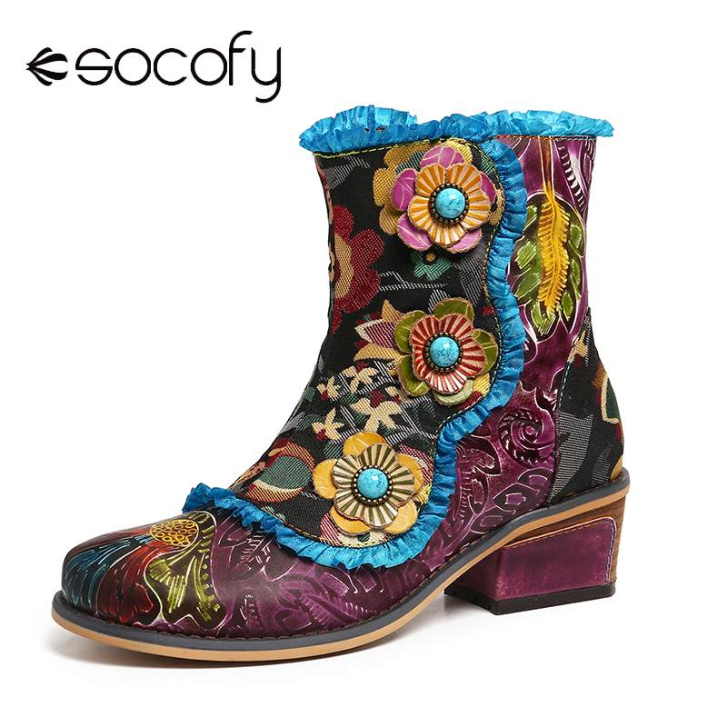 SOCOFY Retro Hand Painted Genuine Leather Flowers Blue Lace Zipper Flat Short Boots Elegant Shoes Women Shoes Botas Mujer