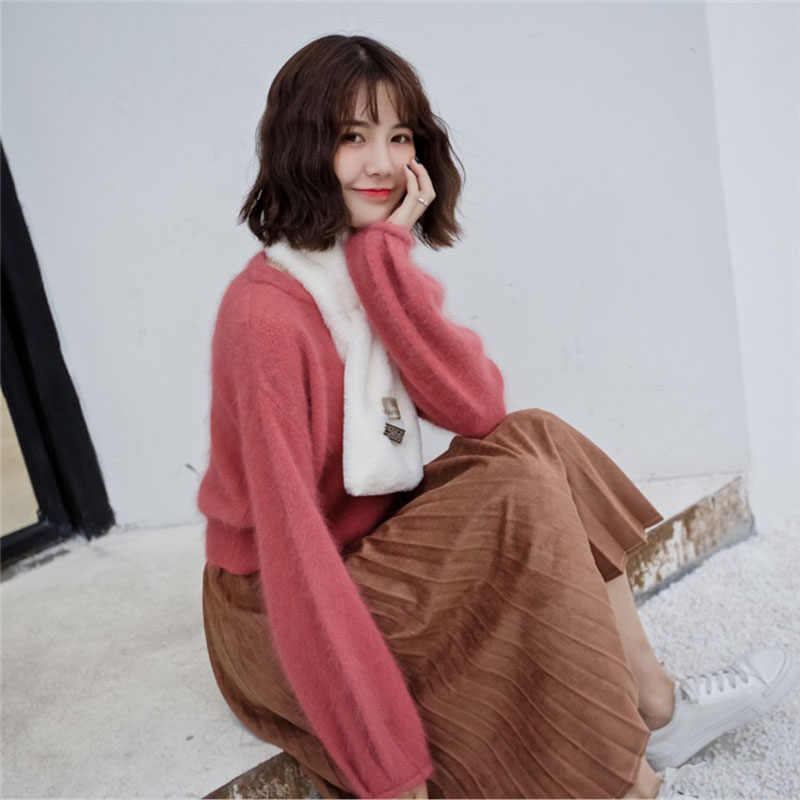 Calymel 2019 秋と冬のソリッドカラーの女性のスカーフファッションシンプルかつエレガントな模造ウサギの毛皮屋外暖かいスカーフ