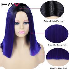 Fave ombre peruca de cabelo sintético, peruca azul rosa e marrom no ombro, resistente ao calor, para cosplay