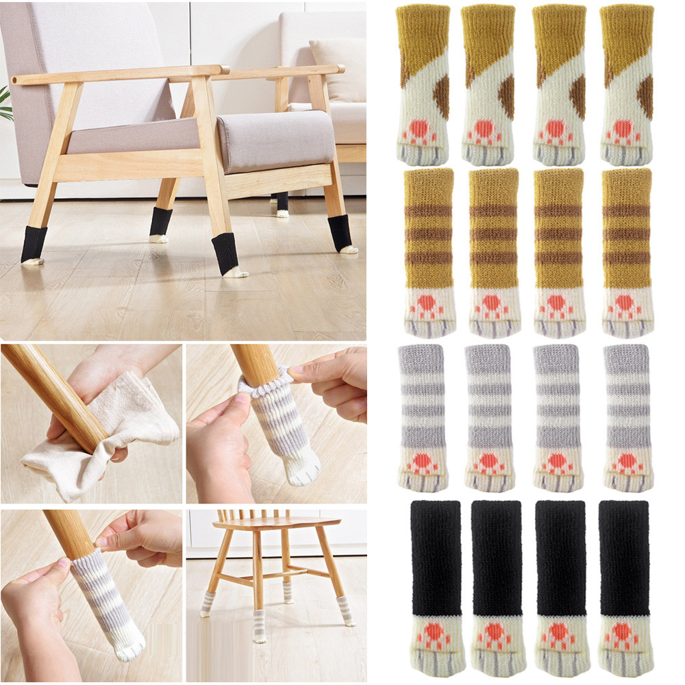 4Pcs Table Chair Leg Cover Lovely  Chair Leg Table Foot Sock Floor Protectors Floral Kint Cover Home Decor Table Foot Cover @A