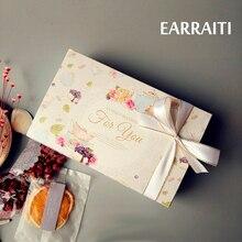 10 Uds caja de regalo de boda flor Vintage Kraft caja de papel para pasteles fiesta de cumpleaños papel de embalaje macaron Floral Cupcake cajas