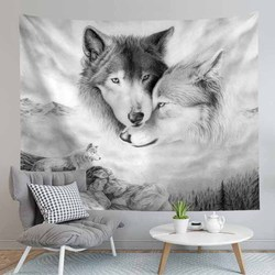 Психоделические Животные серый волк гобелен настенный висящие декорации хиппи гобелен настенный ковры полиэстер покрывало больших Скатер...