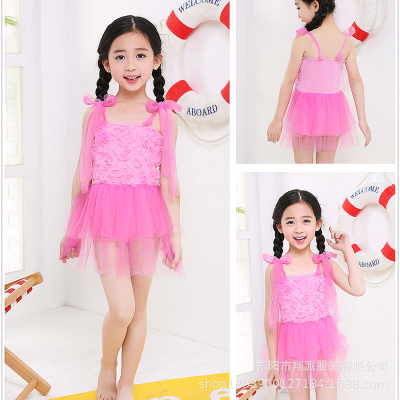 Supply Of Goods KID'S Swimwear Children Lace Edge Gauze GIRL'S Swimsuit Dress-Tour Bathing Suit 3-9-Year-Old