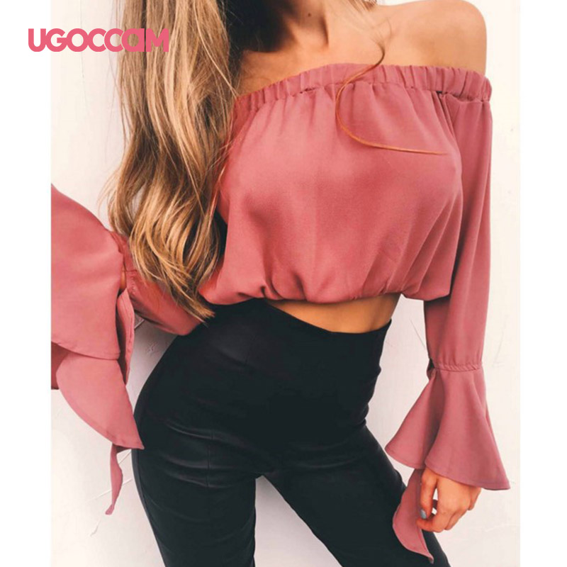 UGOCCAM Women Off Shoulder Shirt Bell Sleeve Long Sleeve Elastic Tube Top Fashion Slim Solid Autumn Blouse Sexy Short Tops Plus