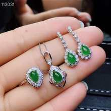 MeiBaPJ Natural Nephrite Jade Gemstone Jewelry Set Real 925 Sterling Silver 3 PiecesGreen Stone Siut Fine Jewelry for Women(China)