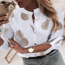 Pineapple Print Blouse Women 2019 Autumn Long Sleeve White Blouses Elegant  Female Golden Button Tops Plus Size Clothes