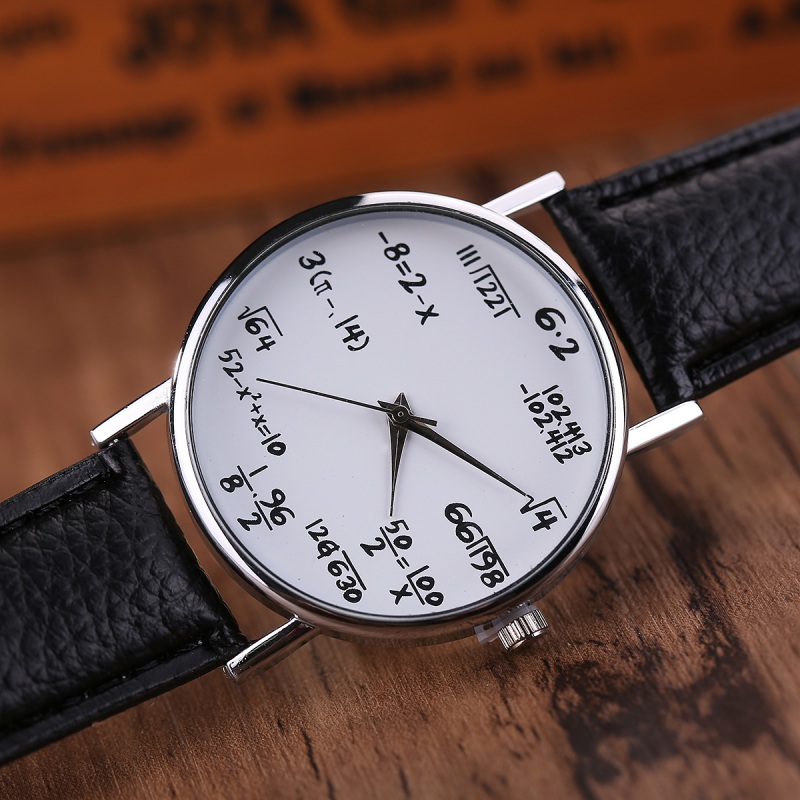 New Women Clock Simple Round Watches With Math Formula Equation For Ladies Personality Montre Femme
