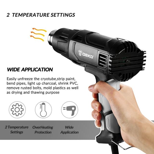 Pistola de calor DEKO 220V 2000W Variable 2 temperaturas pistola de aire caliente eléctrica avanzada con cuatro accesorios de boquilla herramienta eléctrica