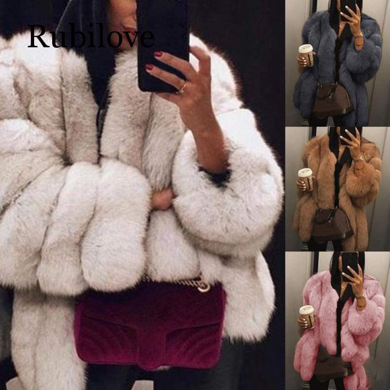 Rubilove Plus Size 2XL Women Fur Coat Winter Warm Plush Coat Luxury Soft Fur Jacket Coat High Quality Women Thick  Faux Fur Coat