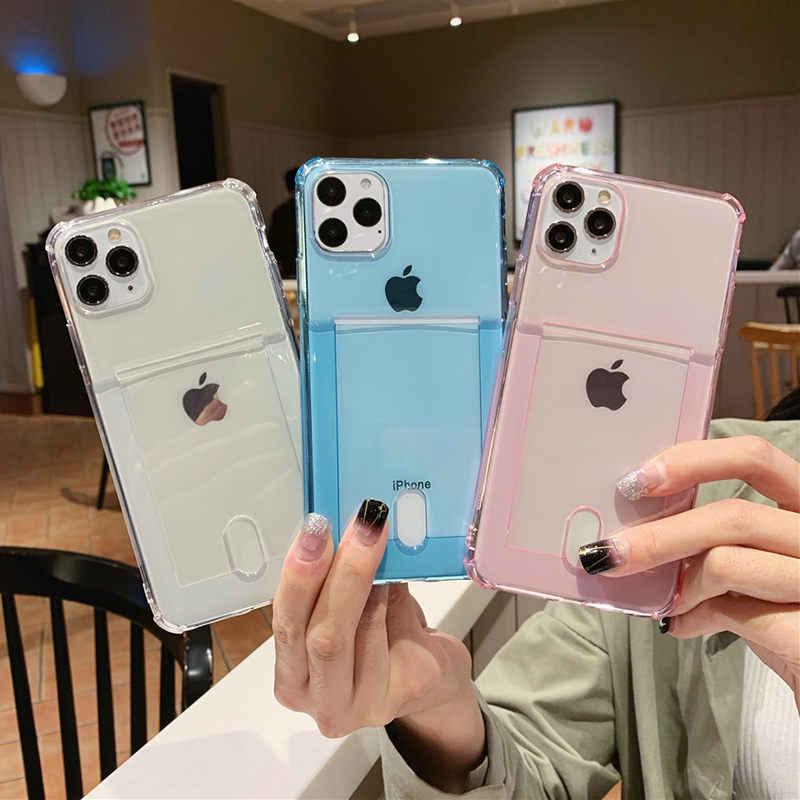 Lovebay ברור כרית אוויר עמיד הלם טלפון מקרה עבור iPhone 11 Pro SE 2020 X XR XS מקסימום 8 7 6s בתוספת סוכריות מזהה אשראי כרטיס רך TPU כיסוי