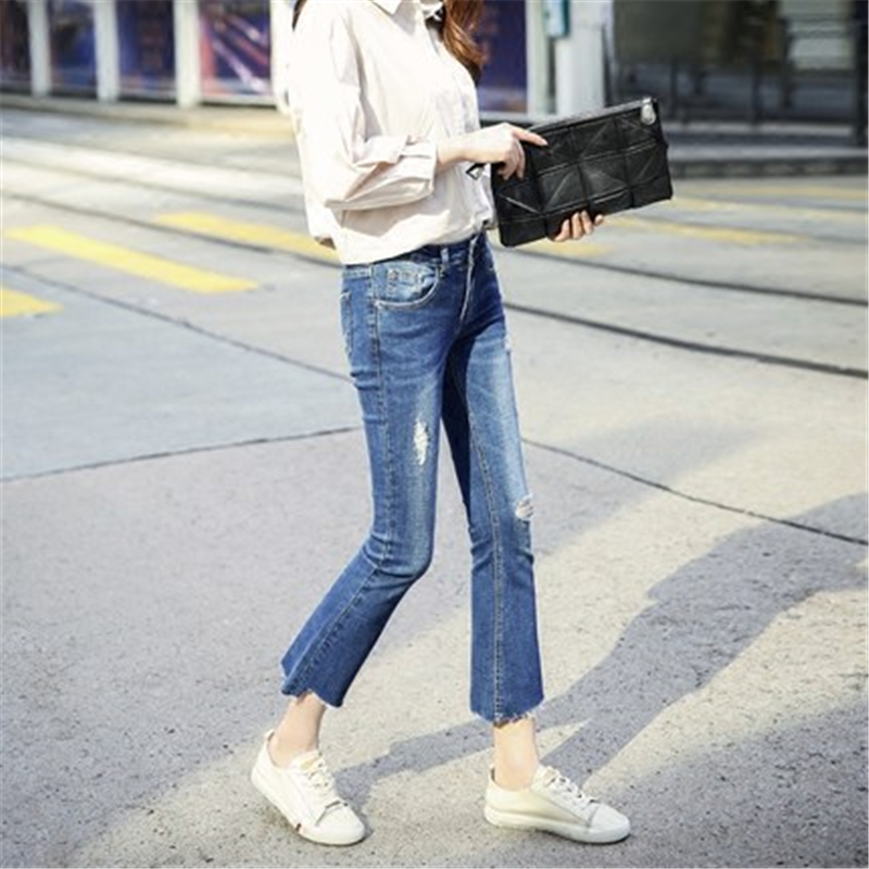 Women's Flare Jean Ankle-Length Pants New Fashion Jeans With Holes High Waist Slim Fit Female Casual Trousers LWL490