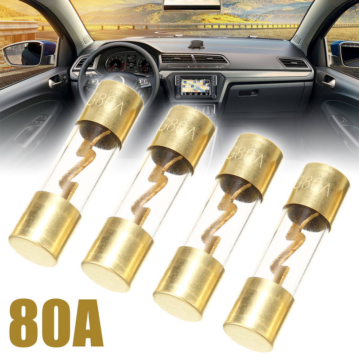4x 80A Gold Plated Glass AGU Fuse Fuses Pack Car Audio Amp Amplifier Holder