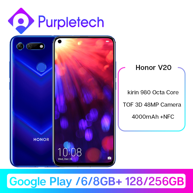Honor V20 View 20 Smartphone Google Play Android 9.0 kirin 980 Octa Core FingerPrint ID 6.4 inch 3*Cameras <font><b>4000</b></font> <font><b>mAh</b></font> Cell Phone image