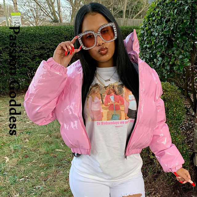 Fashion Cute Women Bright PU Pink Puffer Jacket Winter Warm Bubble Coats Shiny Leather Parkas Down Zipper Cropped Jackets Parkas 1