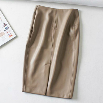 Women Sexy Soft PU Leather Pencil Midi Skirt Autumn Ladies Package Hip Back Split Faux Leather Pencil Skirt Burgundy Coffee 4