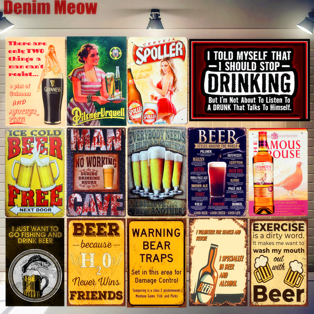 Chic Drink Beer Home Bar Vintage Metal Signs Decor Tin Pub Club Decorative Plates Wall Art A118