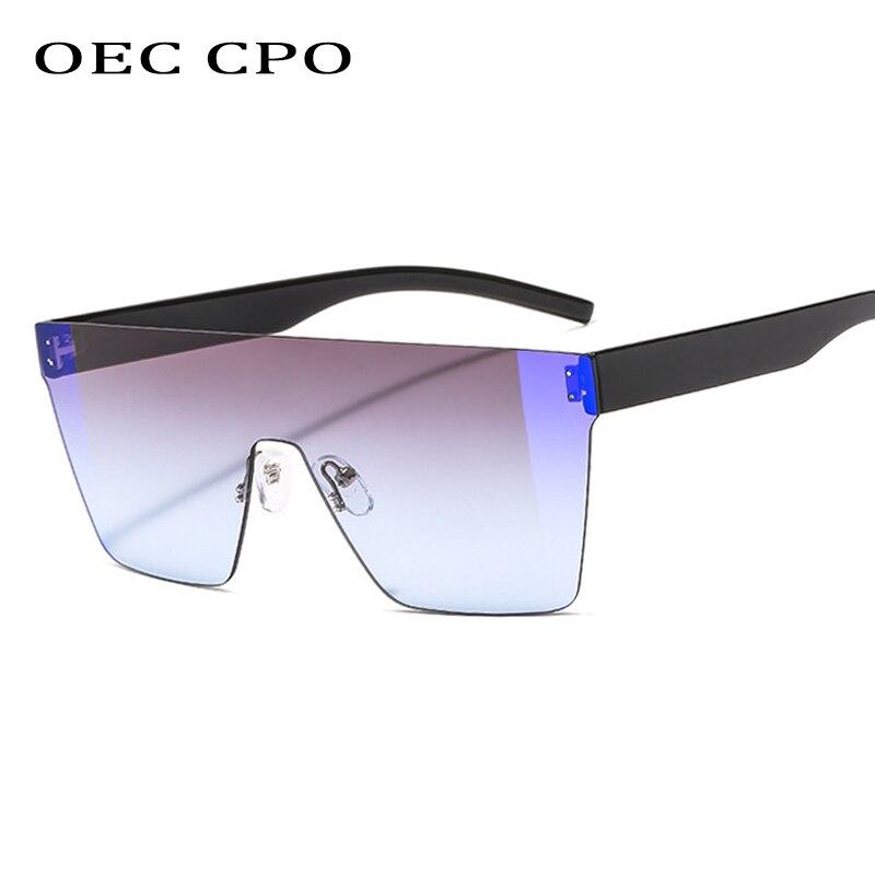 OEC CPO Gray Square Rimless Sunglasses Men Fashion Gradient Oversized Sun Glasses For Women Brand Flat Top  O223