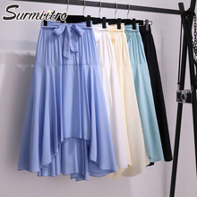 Surmiitro Cotton Midi Skirt Women 2020 Summer Korean Elegant Blue White Black La