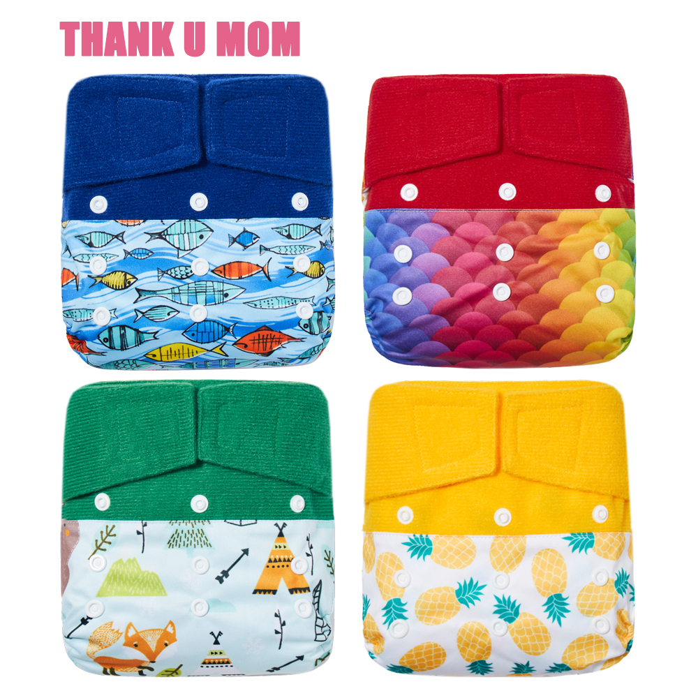 Hook Loop Cloth Diaper OS Pocket Baby Diapers One Size Fits All Stay Dry Soft Polar Fleece Inner Waterproof PUL Outer Fit 5-15kg