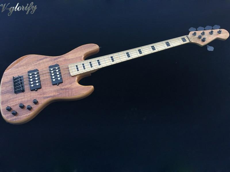 Usine fait de haute qualité flamme érable 5 cordes actif guitare basse électrique érable cou 43 pouces 22 frettes guitare basse