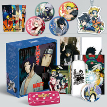 1Pc Anime Naruto Comic Set Sasuke Water Cup Postcard Sticker Poster Luxury Gift Box Anime Around
