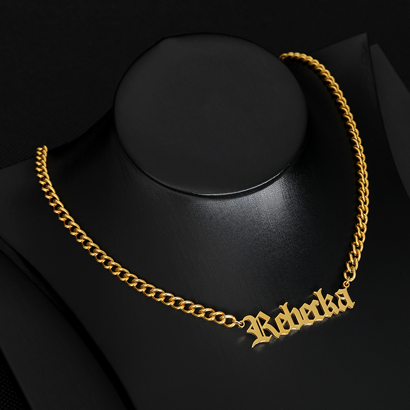 Personalized Custom Name Necklace  For Women/Men Old English Style Stainless Steel Name Pendant Nameplate Necklaces Jewelry Gift