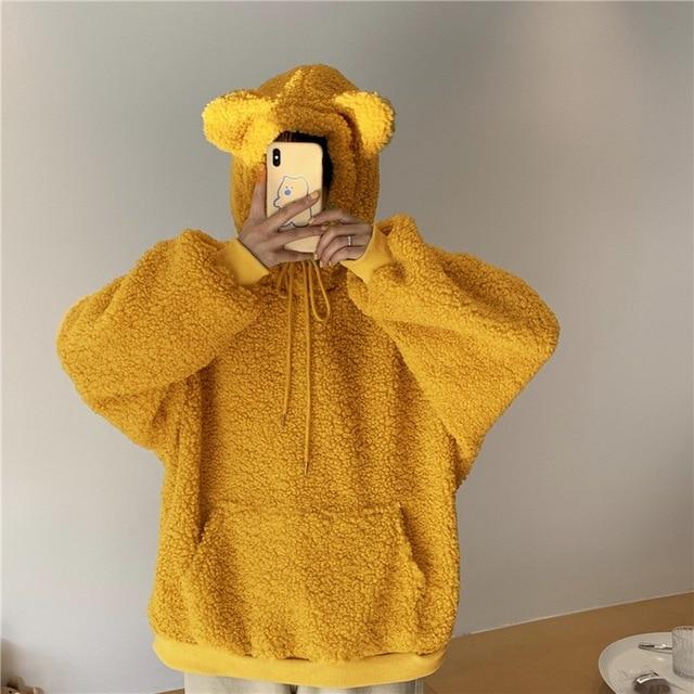 QRWR 2020 Women Hoodie Korean Style Winter Casual Cute Kawaii Warm Sweatshirt Loose Female Pocket Oversized Hoodies for Girls 2