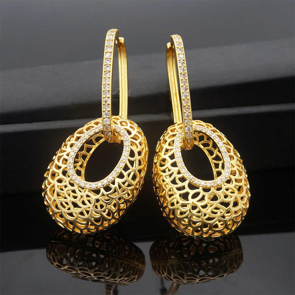 Cuivre or boucles d'oreilles pendentif bijoux nouveau design pour les femmes africaines boucle d'oreille cadeau de mariage