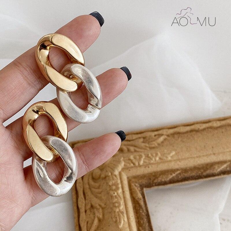 AOMU 2020 New Women Fashion Metal Hit Color Removable Two Ways Earrings Chain Tassel Dangle Earrings for Women Jewelry Gifts