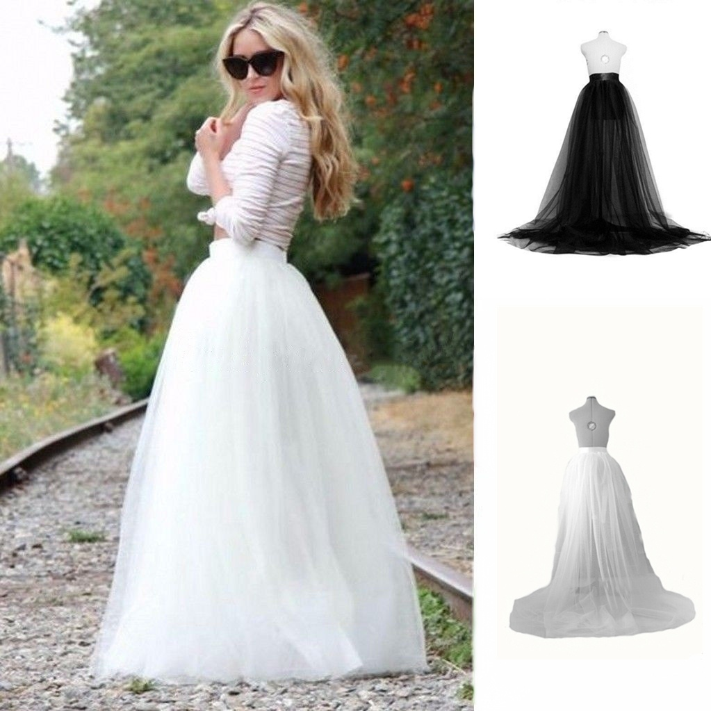 Boho Elegant Women Ball Gown Long Chiffon Maxi Skirts Party Wedding Prom Tulle Lace Up Female Girls High Waist Maxi Skirts
