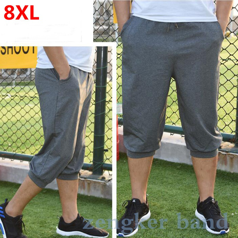 Big Size Summer Cropped Pants Male Oversized  8XL Black Tide Shorts Casual Sports Pants Thin Section Casual Mens Shorts