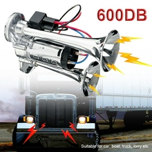 600DB Double Car Air Horn 12V Trumpet Super Loud Electric Horn Speaker For Trucks Ships  Motorcycles 12v Vehicles Accessories