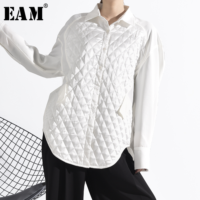 [EAM] Women White Brief Split Big Size Blouse New Lapel Long Sleeve Loose Fit Shirt Fashion Tide Spring Autumn 2020 1N02000