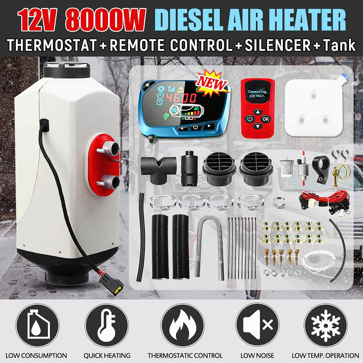 8KW 12V Diesel Air Heater LCD Monitor Remote Control Silencer Metal Shell Air Parking Heater For RV Caravan Trailer Car Boats