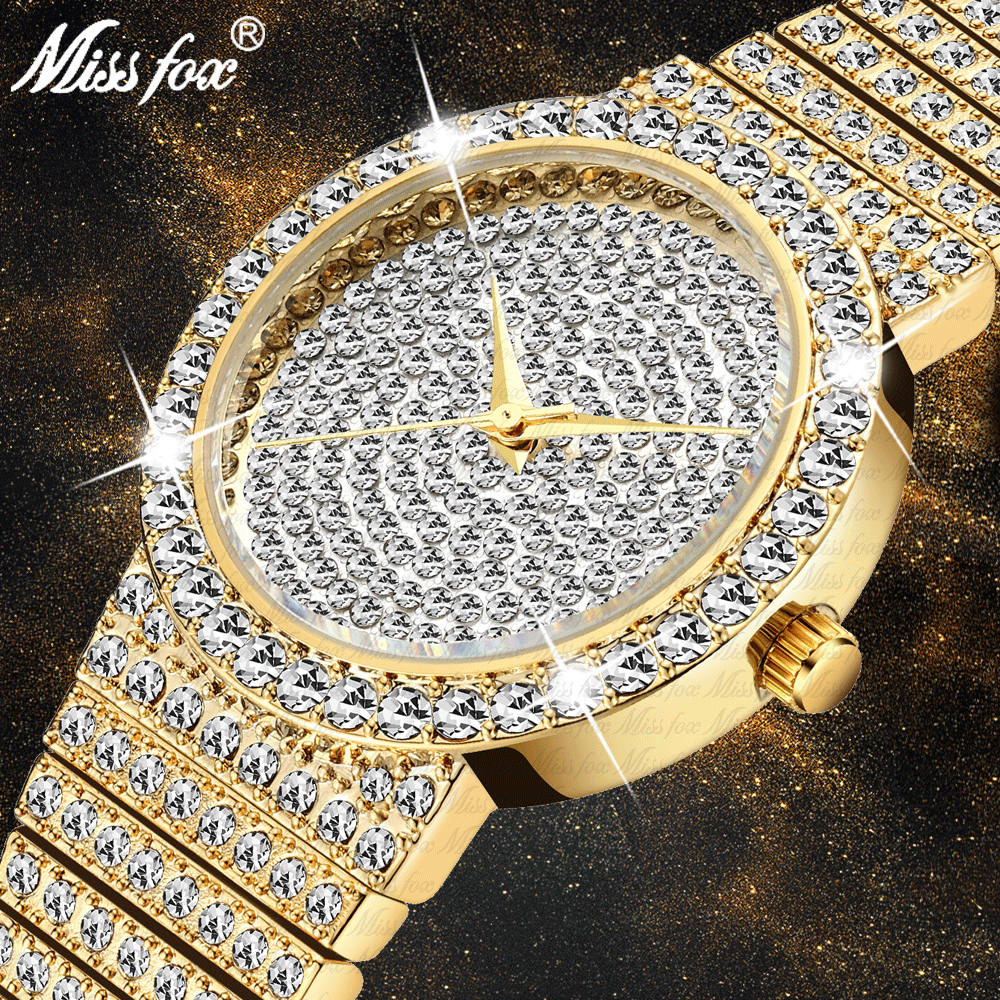 MISSFOX Women Watches Small Unique 18k Gold Luxury Brand Watch Women Diamond Waterproof Analog Classic Iced Out Watch For Gifts