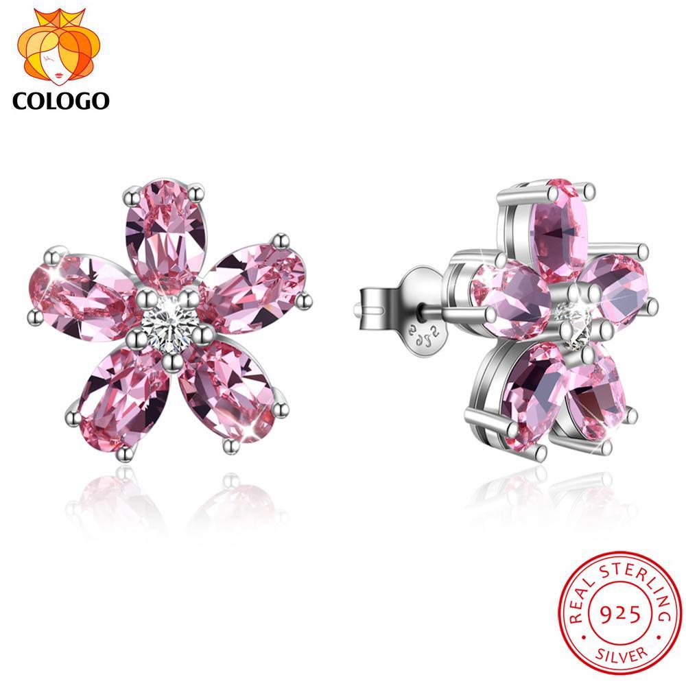 COLOGO 100 Real 925 Sterling Silver Fashion Sparkling petal crystal Stud Earrings For Women Wedding Luxury Jewelry Gift LKN0084 in Stud Earrings from Jewelry Accessories
