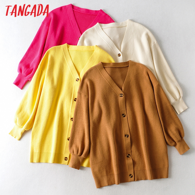 Tangada Women Oversized Thick Loose Knitted Cardigan Sweater Vintage Long Sleeve Button up Female Outerwear Chic Tops AI01