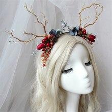 antlers reindeer headband women girls cosplay costume props children kids party decoration christmas