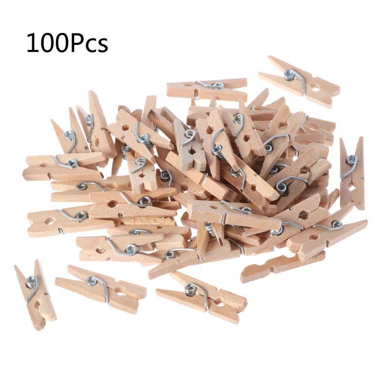 100Pcs Mini Natural Wooden Clothes Photo Paper Peg Pins Clothespin Craft Clips P31B