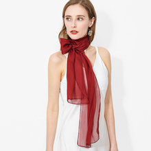 100% Real Silk Chiffon Scarf Women Kerchief Red Pure Natural Silk Neck