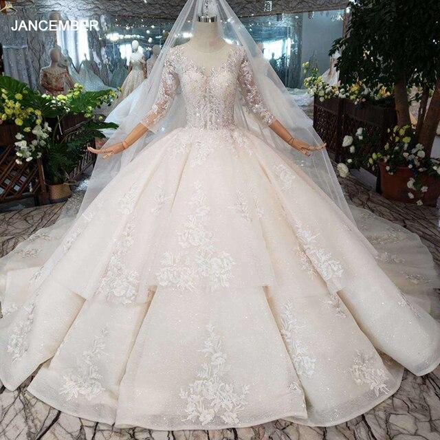 HTL232 Suknia slubna 2019 فساتين زفاف فاخرة بأكمام طويلة مزينة مشد الأميرة فساتين الزفاف مع القطار