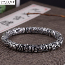 Handcrafted 100% 990 Silver Dragon Bangle 925 Sterling Dragon Cuff Bracelet Pure Silver Man Bracelet Good Luck