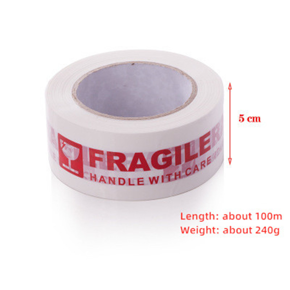 1 Roll Fragile Warning Tape Handle With Care Express Box Packing Warning Sticker Tape Red Text On White Tape 5cm*100M
