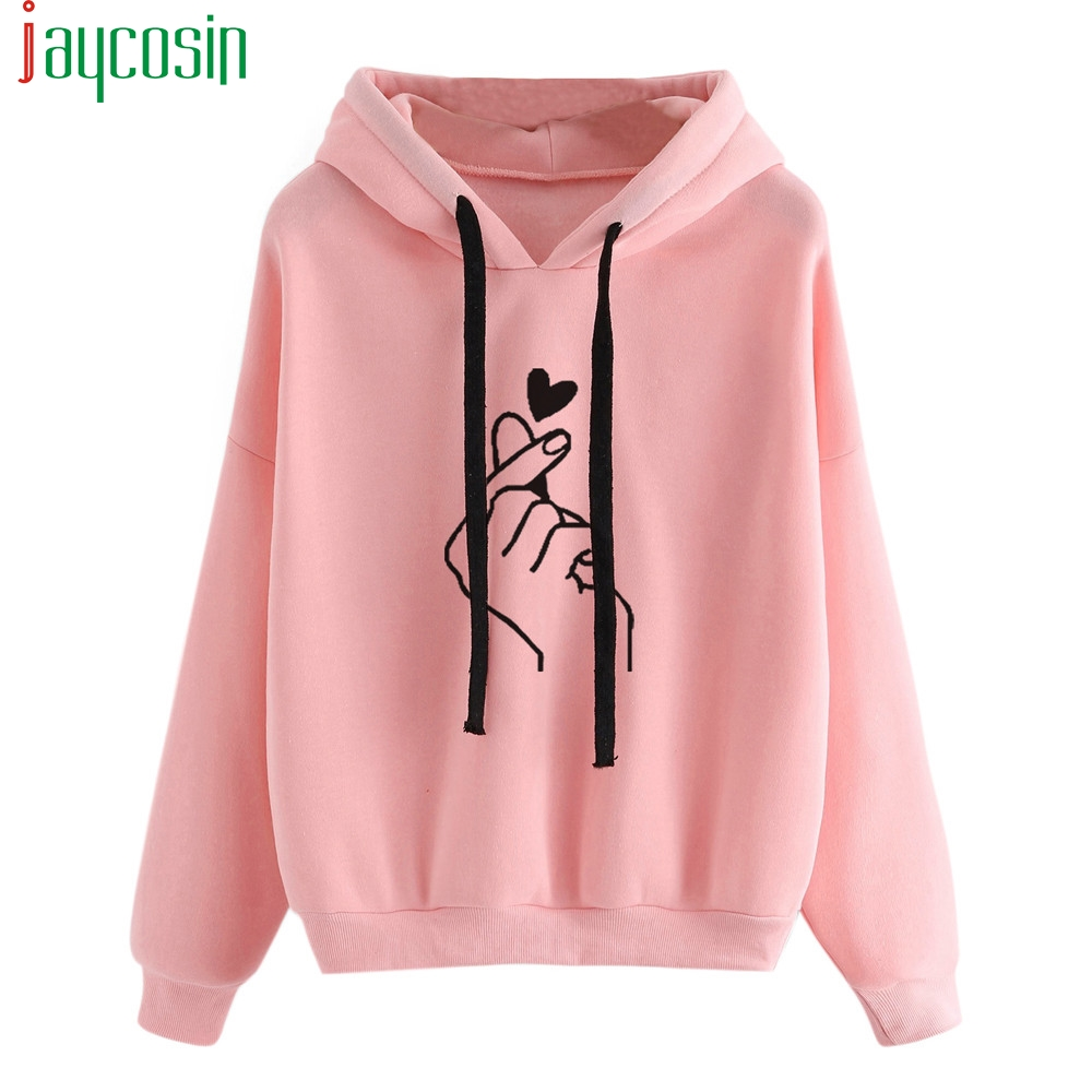 Harajuku Women Sweatshirt and Hoody Ladies Oversize <font><b>K</b></font> <font><b>Pop</b></font> Yellow Pink Love Heart Finger Hood Casual Hoodies Cotton Winter Coat image